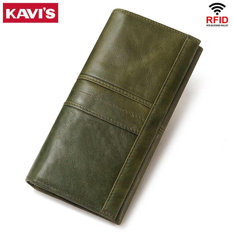 KAVIS Echtem Leder Frauen Kupplung Brieftasche und Weibliche Geldbörse Portomonee Clamp Für Telefon Tasche Karte Halter Handliche Reisepass