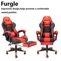 Sedia da ufficio Furgle con sedia da gioco girevole con schienale alto in pelle PU con poggiatesta e massaggiatore sedie per Computer con supporto lombare