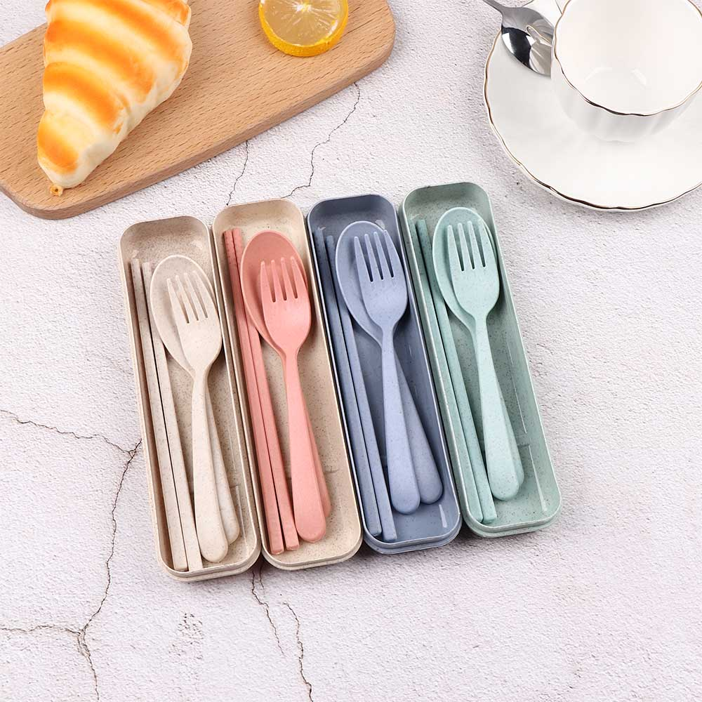 Portable Fork Spoon Camping Picnic Chopstick Wheat Straw Cutlery Kit Tableware