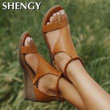 SHY Women Summer Sandals Mid Heels Wedges Shoes Woman Vintag