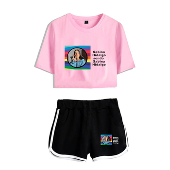 WAWNI Sabina Hidalgo Navel T Shirt Casual Shorts Sexy Two Piece Suit Harajuku Cotton Plus Polyester Fashion Conventional 2020 image