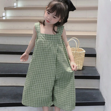 Mihkalev Pattern Kids Overalls For Children Plaid Jumpsuits Baby Girl Loose Pants Child Casual Trousers штаны для девочек