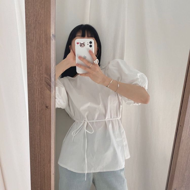 Hd2652481db8c4cfdbe87f65c53dd41c82 - Summer O-Neck Short Puff Sleeves Cotton Lace-Up Solid Blouse