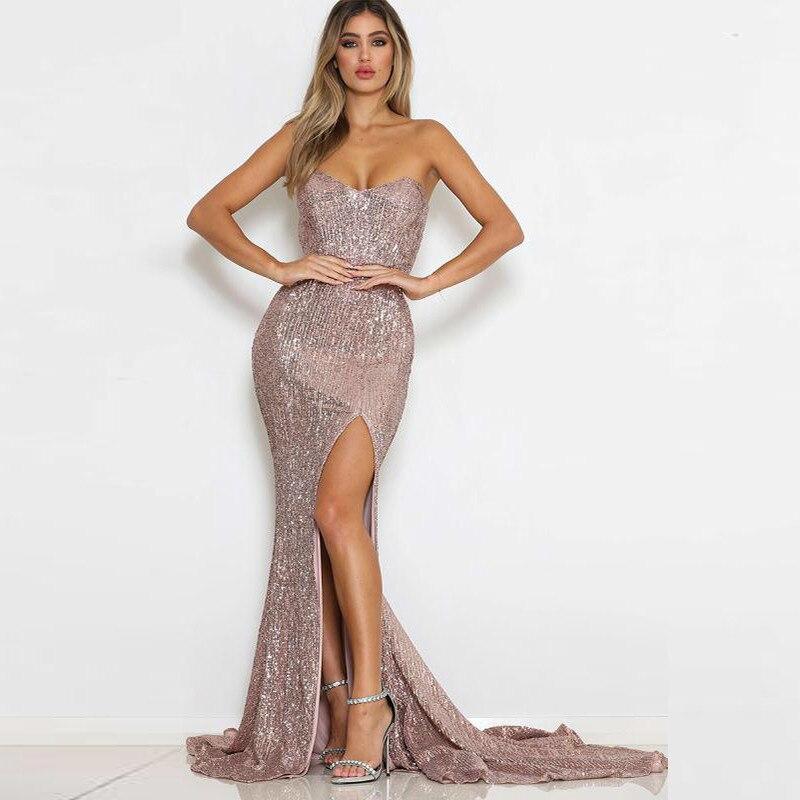 PFFLOOK nouvelle robe d'été sans bretelles à paillettes 2019 femmes robe Maxi sirène élégante Sexy moulante robes longues robes de fête