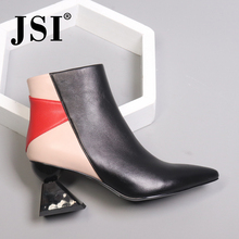 JSI Winter Ankle Women Boots Strange Style  Pointed Toe Mixed Colors Ladies Shoes Genuine Leather High Heel Women Boots JC427
