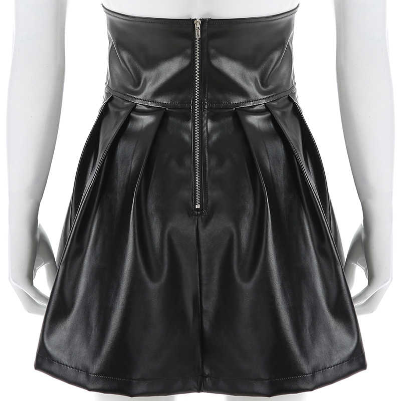 Mini falda Rockmore de cuero PU para discoteca Línea A con cremallera estilo gótico Punk cintura alta Sexy Micro faldas por encima de la rodilla para mujer