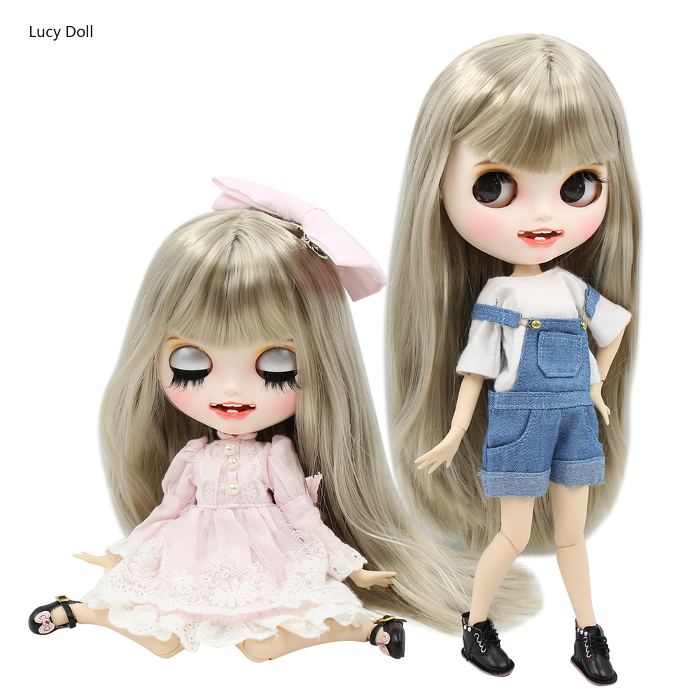 1/6 personnalisé poupée usine blyte poupée Bjd blanc peau Joint corps argent gris cheveux, nouveau visage mat avec des dents, 30cm BL8800