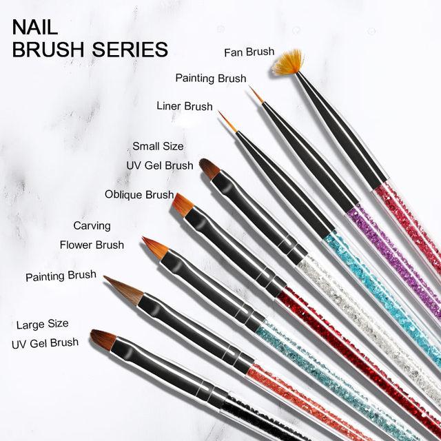 UV Gel Nail Liner Brush Red Green Rhinestones Nylon Hair Acrylic Handle Nail Drawing Painting Pens Nail Art DIY Design Tools
