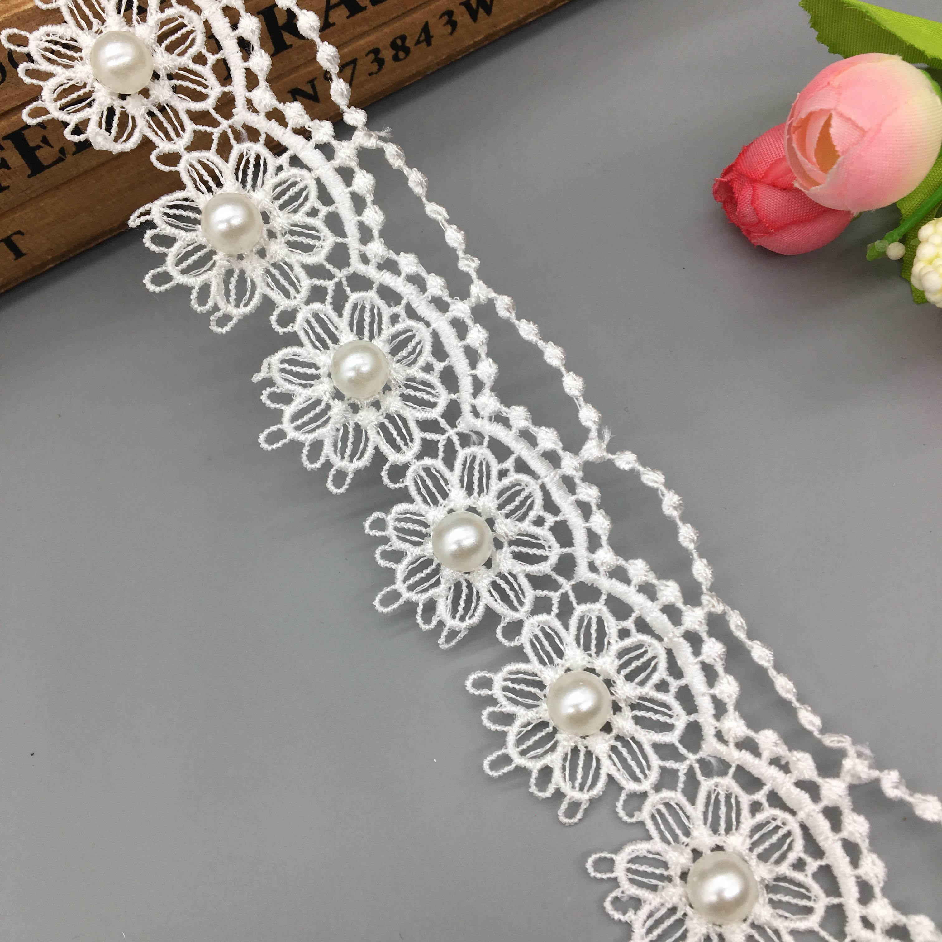5 yd Rose Vintage Embroidered Lace Trim Ribbon Wedding Applique DIY Sewing Craft