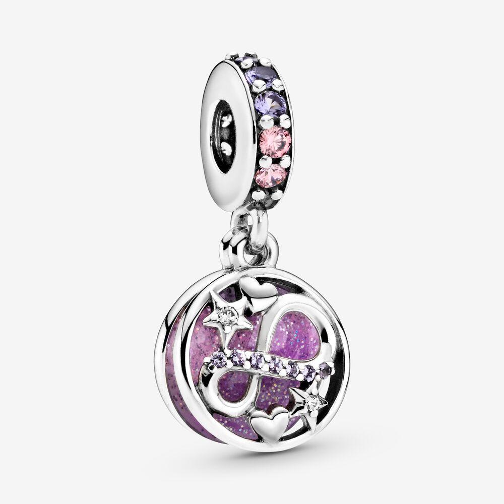 ¡Novedad de 925! Colgante de plata de ley rosa con brillantes corazones y estrellas, joyería DIY que se ajusta a la pulsera Pandora, colgante de collar