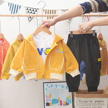 Spring Autumn Children Fashion Clothes Baby Boy Girl Hooded Jacket T Shirt Pants 3Pcs/sets Kid Infant Clothing Toddler Tracksuit retail black skull baby boy autumn winter sets hooded jacket pants suits 2016 infant clothes toddler clothing children outerwear