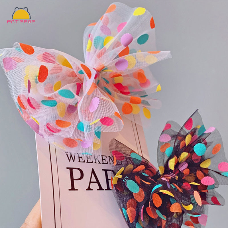 Colored Dot Bow Baby Hair Clips Lovely Sweet White Black Lace Metal Princess Hairpin For Girls Childern Kids Hair Accessories(China)
