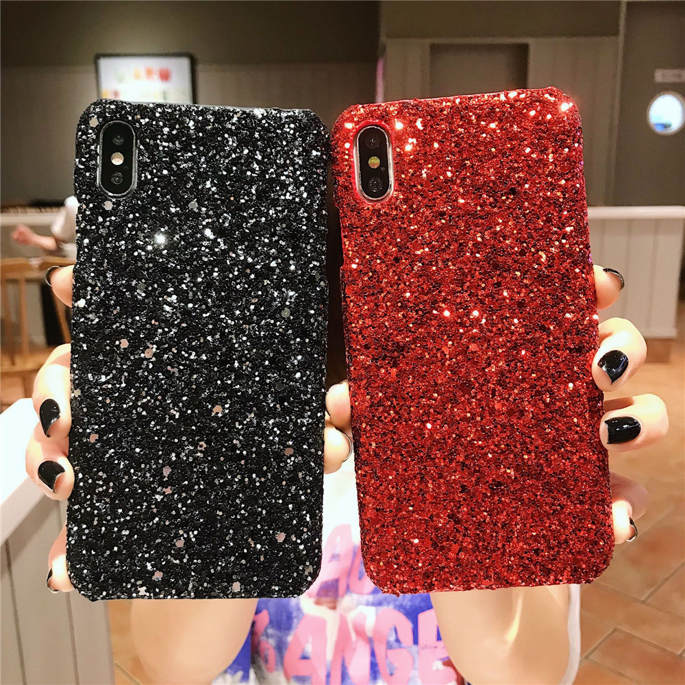Bling Glitter Sequins Case For Samsung Galaxy S10 S9 A7 2018 A750 Back Cover A6 A8 J4 plus j6 J8 J2 J7 A70 A50 phone case Coque image