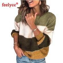 Модный женский свитер в полоску осенне зимний с круглым вырезом
