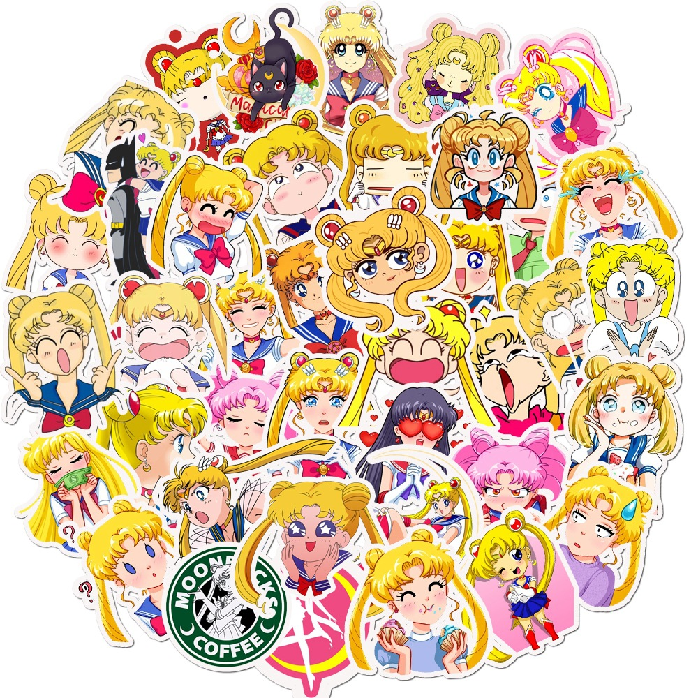 50Pcs Anime Sailor Moon Sticker Paster Cartoon Scrapbook Craft Decor Cosplay Costumes Prop Accessories