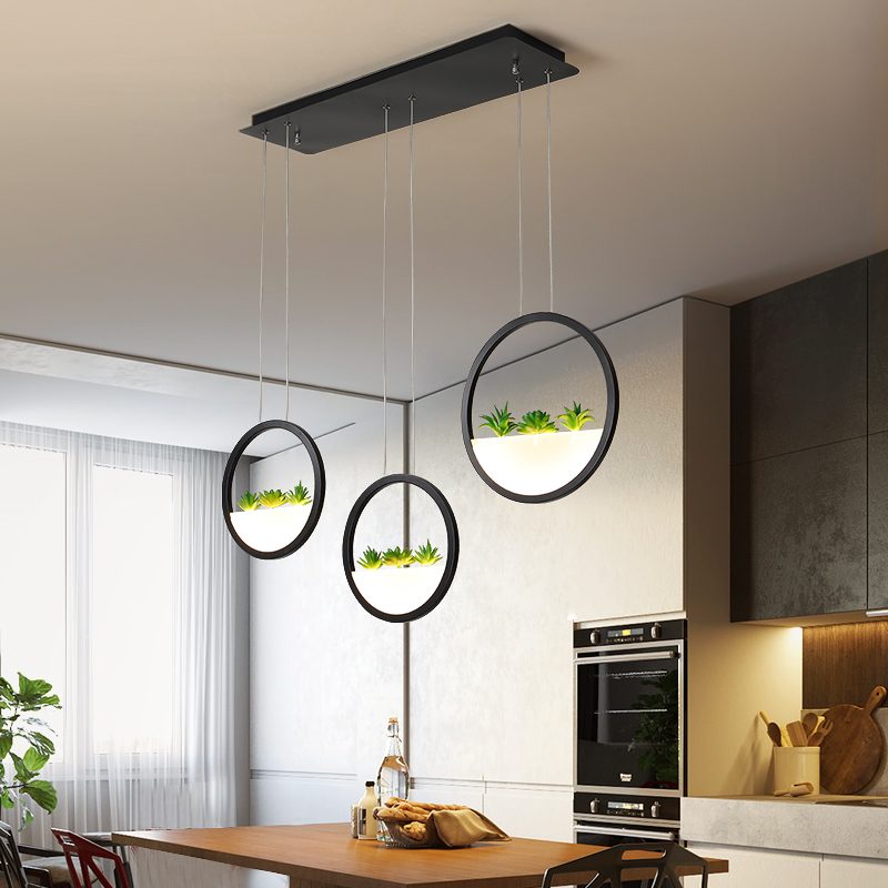 Modern Led Pendant Lights Circle Plant Decorative Luminaire Suspendu Pendant Lamp For Restaurant Dining Room Hanging Lights