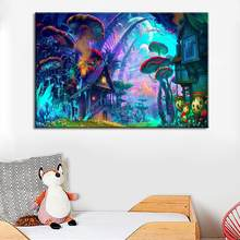 Unframed Cartoon Forest Canvas Painting Kids Room Picture Poster Wall Decor Provide modern artistic wall decoration to the house(China)