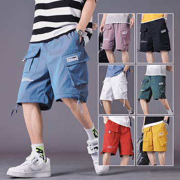 цена на Aolamegs Multi-Pocket Letter Print Drawstring Cargo Men Shorts Summer High Street Casual Sweatshort 7 Color Optional Streetwear