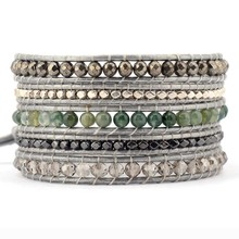 Exquisite Mixed Natural Stones Crystals 5 Layered Leather Wrap Bracelets Antique Weaving Bangles Dropship Bohemia Jewelry
