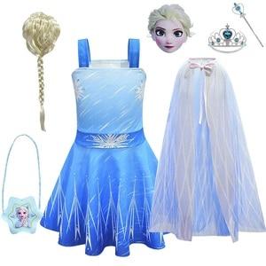 Платье принцессы Эльзы для девочек, Детский костюм Снежной королевы, 2 платья Эльзы, Детские вечерние платья без рукавов для дня рождения