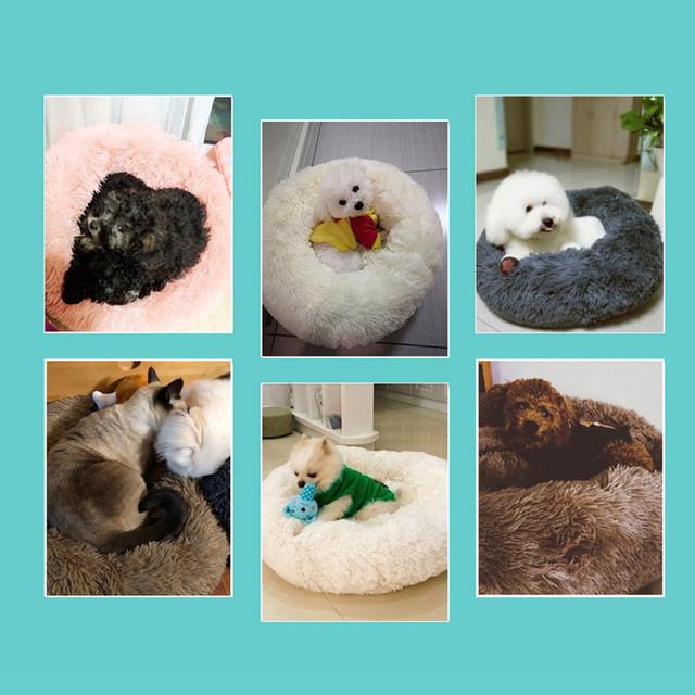 6 Colors Long Plush Super Soft Pet Bed Puppy Cushion Mat Portable Cat Supplies Kennel Dog Round Cat Winter Warm Sleeping Bag