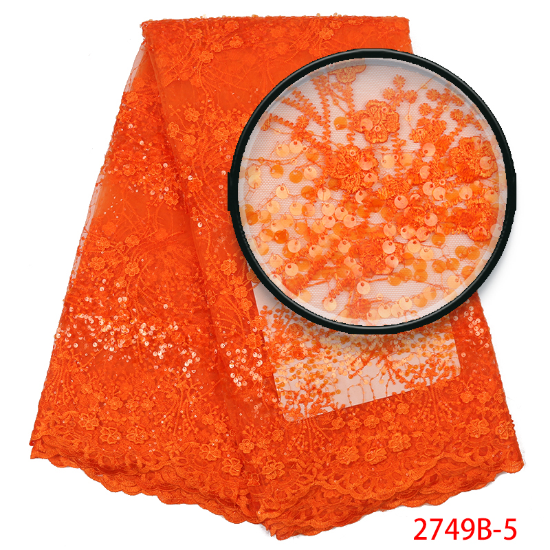 French Sequins Lace Fabric Newest, African Tulle Lace Fabric High Quality,Nigerian Lace Fabric With Sequence For Dress KS2749B-5