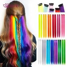 HUAYA Colorful Highlighted Hair Extension Clip Synthetic Long Straight kanekalons Colored Strands Fake Hair