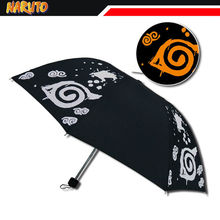 Dibujos animados de NARUTO Uzumaki Hokage paraguas plegable de color negro, accesorio coleccionable, para Cosplay