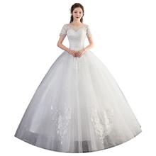 Suknia ślubna Lace Up suknie balowe dla nowożeńców suknie ślubne w dużych rozmiarach suknie ślubne dla panny młodej Vestido De Novia tanie tanio Lifeglad O-neck Krótki Satin NONE CN (pochodzenie) Długość podłogi REGULAR Aplikacje Haft Kwiatowy Print LF hsz92 Księżniczka