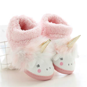 Unicorn Slippers Barefoot Shoes Interior Girls Baby Boys Plush Warm Pink Cute Gray