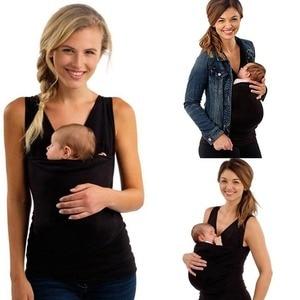 Ropa portabebés, camiseta de canguro para madre con bebé, camiseta multifuncional de manga corta con bolsillo para padres, portabebés