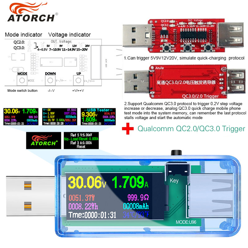 13 IN 1 Digital Display USB Tester Current Voltage Charger Capacity Doctor Power Bank Battery Meter Detector+qc2.0/3.0 Trigger