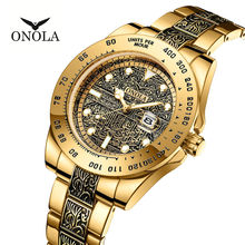 Brand ONOLA Business Casual luxury retro stainless steel golden men's watch high quality gold watches men