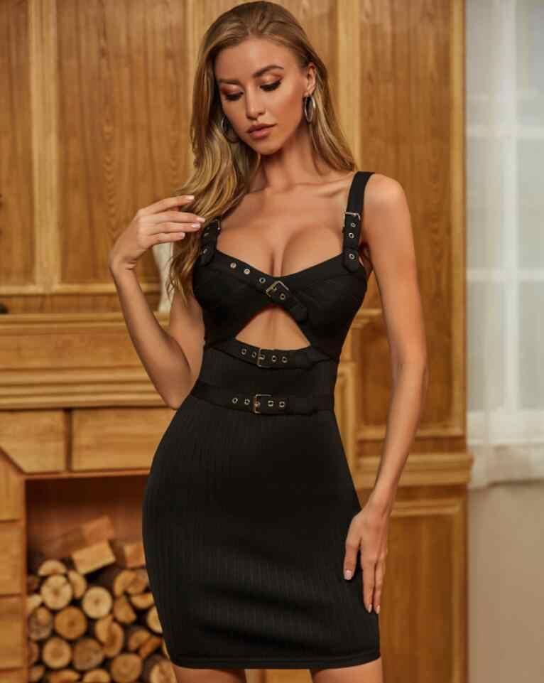 シックな夏のファッションセクシーな背中キー穴バックル黒ボディコン女性の包帯ドレス 2020 エレガントなイブニングパーティードレス vestido