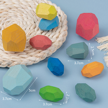 Children'S Wooden Colored Stone Building Blocks - Educational Toys