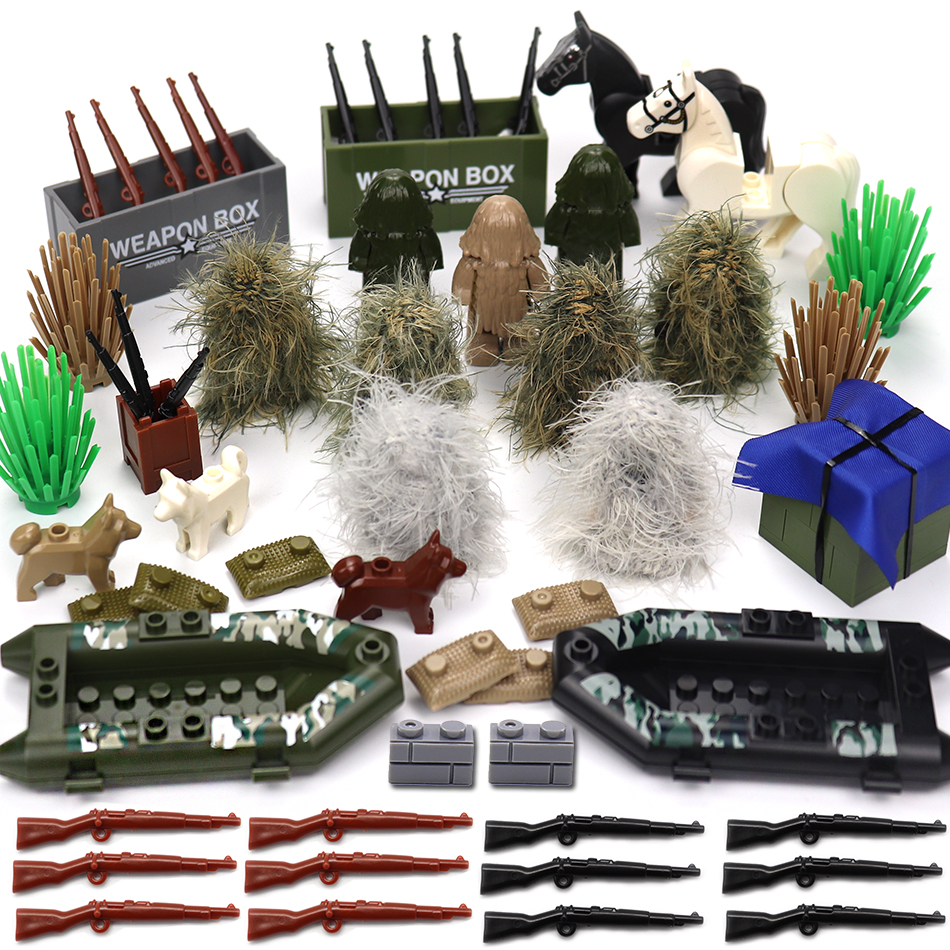 Military SWAT PUBG Sniper Guns Ghillie Suits Camouflage Clothes Parts Compatible Legoed Army Ww2 Soldier Figures Building Blocks