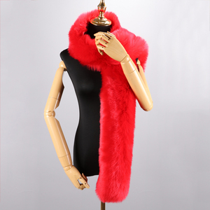 Image 4 - 180cm חורף חם צעיף צווארון צעיף כורכת ליידי פרווה ארוך צעיפי מוצק צבע סימולציה פרוות שועל Pashminas עבור נשים מעיל מעילים