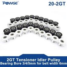 POWGE 10pcs 2M 2GT 20 Dentes síncrona Roda Polia Intermediária Furo 3/4/5mm com rolamento para Largura da correia Dentada GT2 6MM 20 T 20 Dentes