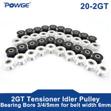 POWGE 10pcs 2M 2GT 20 Zähne synchron Rad Umlenkrolle Bohrung 3/4/5mm mit lager für GT2 zahnriemen Breite 6MM 20 T 20 Zähne