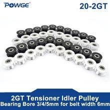 Powge 10 Pcs 2M 2GT 20 Tanden Synchrone Wiel Spanrol Boring 3/4/5 Mm Met lager Voor GT2 Distributieriem Breedte 6 Mm 20 T 20 Tanden