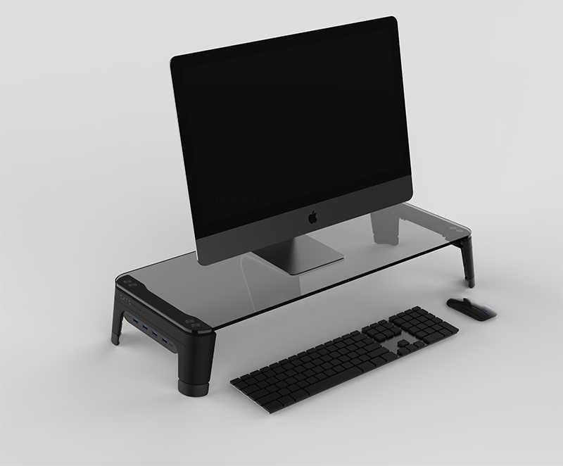 Desktop Computer Portatile Del Taccuino Supporto Del Monitor Spazio Bar Non-slip Scrivania Riser con 4 porte Hub USB Trasmissione di Dati e veloce Caricatore 600L