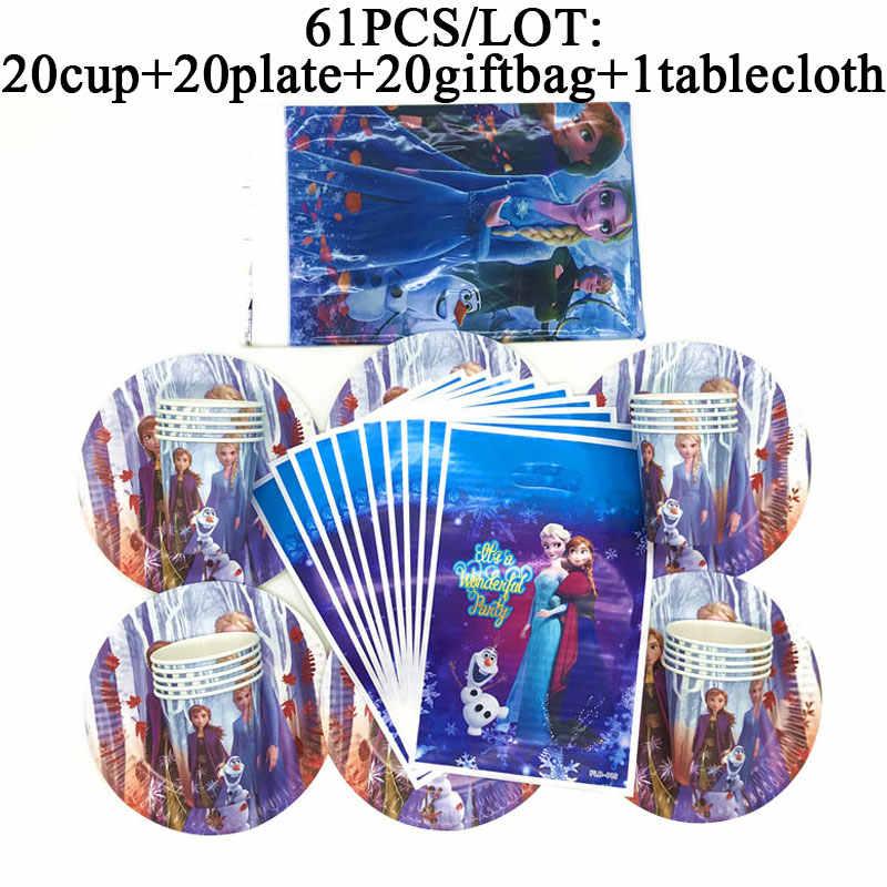 Bevroren 2 Verjaardagsfeestje Supplies Decoraties Bevroren 2 Verjaardag Thema Party Borden Cup Gift Bags Baby Douche Tafelkleed Party Set