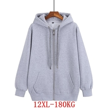 Large size women's 12XL hooded sweatshirt plus size 8XL 9XL 10XL autumn and winter long-sleeved loose black blue gray red jacket