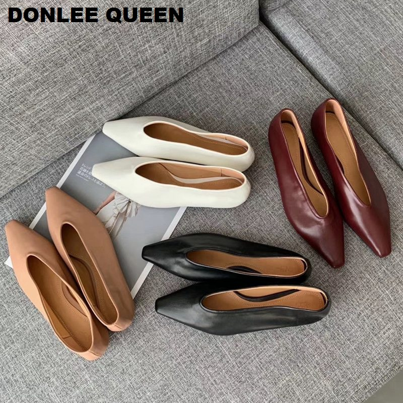 2020 Women Flats Shoes Brand Ballet Pointed Toe Flat Soft Moccasin Women Slip On Loafer Female Boat Shoes Women Zapatos De Mujer