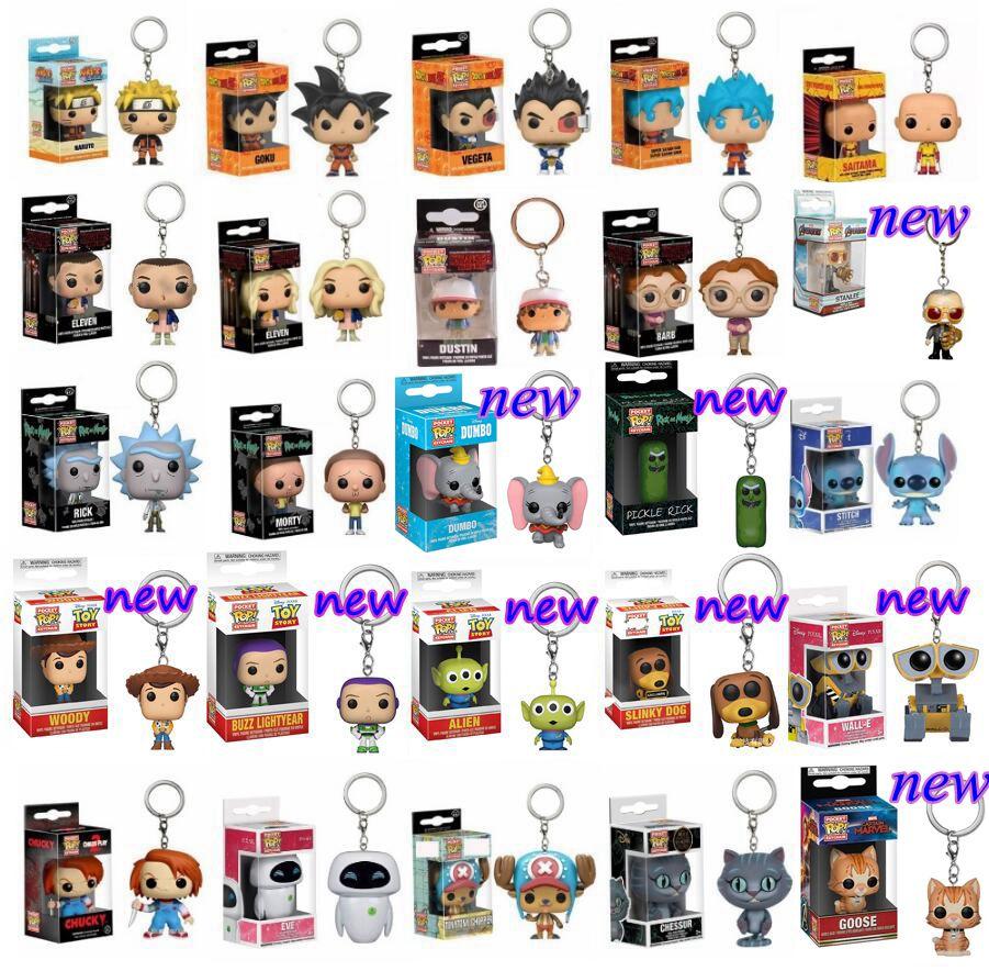 Funko Pop Keychain Toy Dragon Ball Son Goku Vegeta Naruto One Piece Vinyl Figure Stranger Things Rick And Morty Pocket Keyring