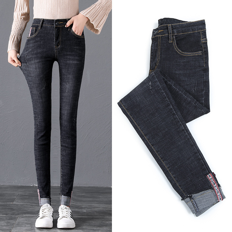 Photo Shoot High Waist Jeans Women's 2019 New Style Spring And Autumn Tight Slimming CHIC Elasticity Crimping Skinny Pants