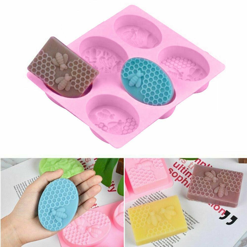 6 Hole Oval Soap Molds Silica Gel Bee Shape Handmade Soap Mold Portable Unique Soap Making Tools