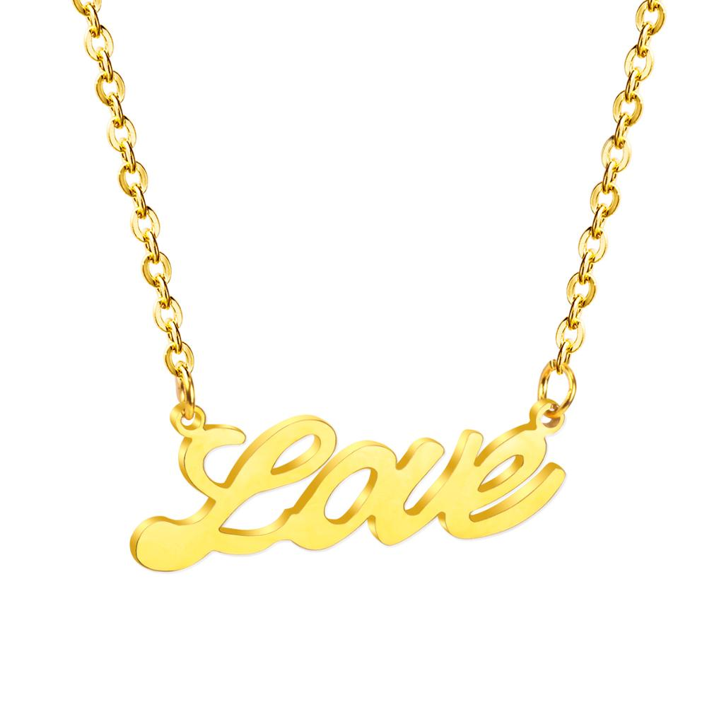 LUXUKISSKIDS Stainless Steel Word Love Pendants Necklaces Friend Gift Name Letter Neckalces Wholesale image