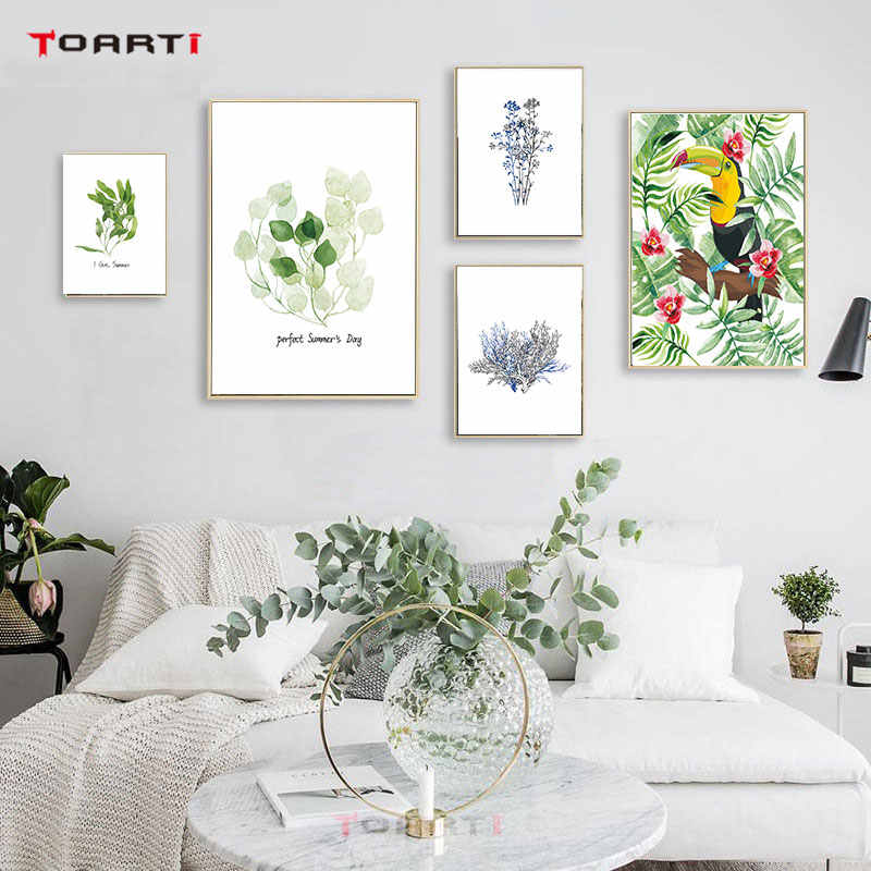 Nordic Natural Poster Prints Art Animals Bird Elephant Plant Tropical Leaf Canvas Painting A4 Wall Picture Modern Home Decor