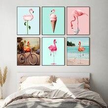 Affiche de chaussures de vélo Flamingo, peinture sur toile de fleurs, images d'art murales nordiques Syle pour salon, imprimés décoratifs modernes pour la maison